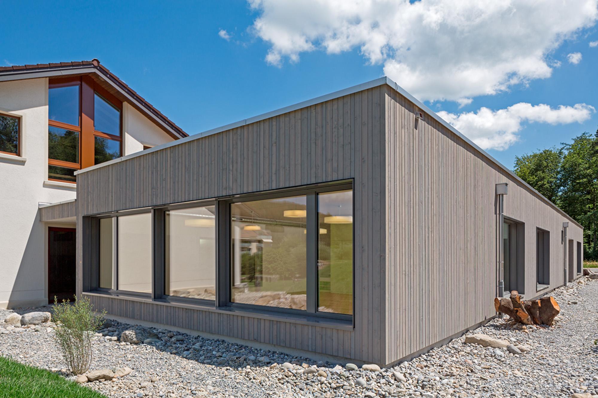 Aussenansicht Neubau/Erweiterung Schulanlage, Brunegg